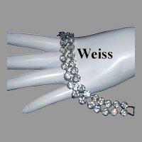 WEISS Sparkling Double Row RHINESTONE Line / Tennis Bracelet