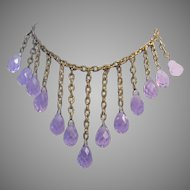1930's COLOR CHANGING Alexandrite Crystal Briolettes Dangling BIB Necklace