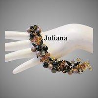 JULIANA Sassy Metal Beads & Rhinestones BOOK Piece Bracelet