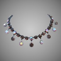 1960's HIGH END Sassy Root Beer & AB Rhinestones Dangling FRINGE Necklace