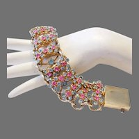 1950's / 60's BOLD Chunky Pink & Aquamarine Rhinestones UNIQUE Bracelet