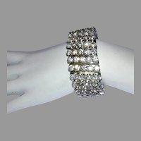 1950's WIDE Rhinestone 5 Row EXPANSION / Stretch Bracelet
