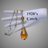 1920's CZECH Signed Faceted AMBER Glass Dangling ART DECO Necklace