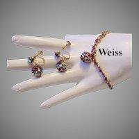 WEISS Red Rhinestones Dangle BRACELET & Earrings