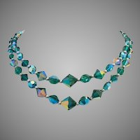 1950's Tantalizing TEAL Crystals / Glass 2 STRAND Necklace