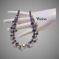 """WEISS Exquisite """"Real Look"""" Black Diamond Rhinestone Necklace With ICING"""