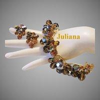 JULIANA Taupe Rhinestones & Topaz Crystals Dangling CHA CHA Bracelet & Earrings