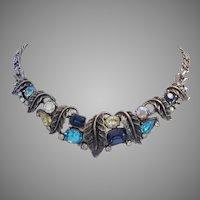 CORO Book Piece High End Colorful Rhinestones Necklace