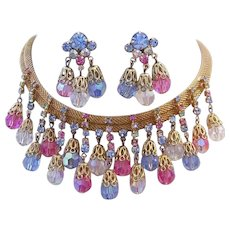 1960's Impressive RUNWAY Rhinestones & Colorful CRYSTALS Dangling Necklace & Earrings