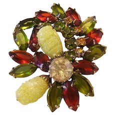 1960's COLORFUL Textured GLASS & Rhinestones DAZZLING Pin / Brooch