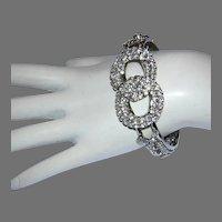 1970's SPARKLING Rhinestones Clamper / CUFF Bracelet