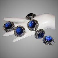 1960's BOLD Brilliant Ornate SAPPHIRE Rhinestones Bracelet & Earrings