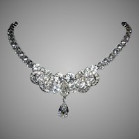 WEISS Superb Design BOLD Diamond Like RHINESTONE Necklace With Icing