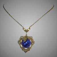 1920's Deco CZECH Signed Luscious SWIRLED Lapis Art Glass Necklace