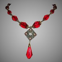 1940's RED Faceted Glass & Mosaic Necklace From ITALY