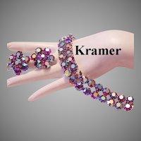 KRAMER Raspberry RED Beyond BRILLIANT Rhinestones Bracelet & Earrings