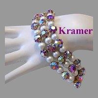 KRAMER Exquisite RASPBERRY Red Rhinestones Bracelet