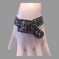 1975 Black BRILLIANT Rhinestones Sassy BUCKLE Bracelet