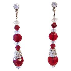 1960's RED Crystal & Rhinestones Dangling CHRISTMAS / Party Ready Earrings