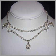 1940's Elegant DESIGNER Rhinestone Festoon Necklace
