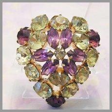 KRAMER Rare HEART Pin Purple & Canary Rhinestones FIGURAL