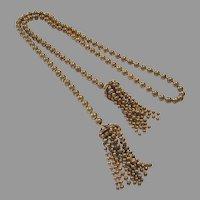 1920's ART DECO Scarce BRASS Ball Chain Lariat Tassel Necklace