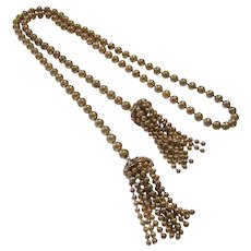 1920's ART DECO Scarce BRASS Ball Chain Lariat Tassel Necklace