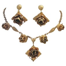 1920's / 30's Art Deco / NOUVEAU Impressive Brass Necklace & Earrings
