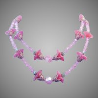 1950's Pink TULIP Art Glass & CRYSTAL 2 Strand Sizzling Necklace
