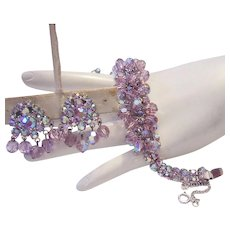 1960's Luscious LAVENDER / Light Amethyst Dangling CRYSTALS & Rhinestones Bracelet & Earrings