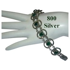800 SILVER Jade & Marcasite Bracelet