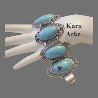 1960's KARU Arke Bold Wide Faux TURQUOISE Bracelet