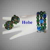 1960's HOBE Peacock Colors GLASS Wire Wrap BRACELET & Earrings