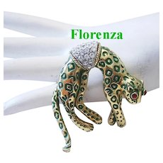 FLORENZA Figural Leopard Pin / Brooch With RHINESTONES & Moving Mechanical Tail