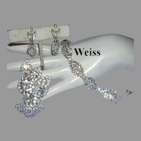 WEISS Diamond Like RHINESTONES Bracelet Dangle Earrings & Pin Parure