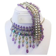 1970's Designer SUFFRAGETTE Colors of PURPLE & OLIVE Green Crystals Necklace & Earrings