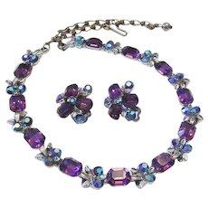 1960's PURPLE Emerald Shape RHINESTONES Designer Necklace & Earrings