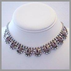1960's Regal RED Caged Iridescent  RHINESTONES Impressive Necklace