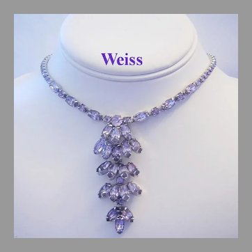 WEISS Color Changing ALEXANDRITE Rhinestones Dimensional NECKLACE
