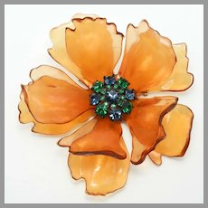 1950's / 60's HUGE Sought After Celluloid / LUCITE & Rhinestones Dimensional Pin / Brooch