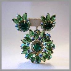 JULIANA Sparkling Shades Of GREEN Rhinestones Pin & Earrings