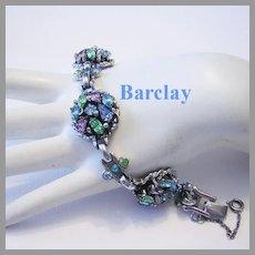 1950's BARCLAY Decadent Dimensional PASTEL Rhinestones Bracelet