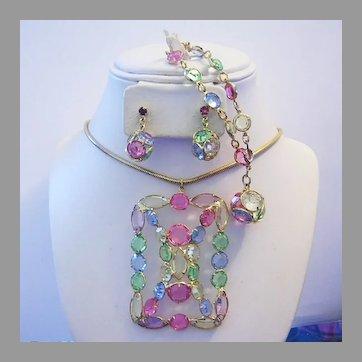 1970's Sizzling PASTEL Open Back RHINESTONES Necklace Bracelet Earrings Set / PARURE