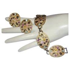 1960's SULTANA Designer Signed COLORFUL Rhinestones Dimensional Design Bracelet & Earrings