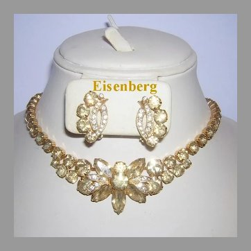 EISENBERG Exquisite CHAMPAGNE Rhinestones Necklace & Earrings