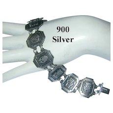 1940's GODS Of FORTUNE 900 Silver Bracelet