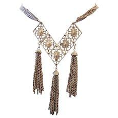 1960's GOLDEN Long Tassel Necklace DESIGNER Signed