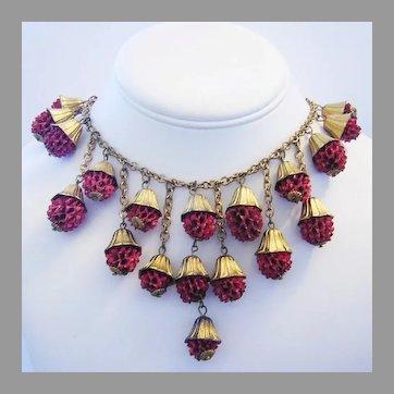 1920's ART DECO Dangling Raspberry Baubles BIB Necklace