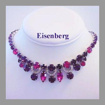 EISENBERG Exquisite Pink & PURPLE Rhinestones RARELY Seen Necklace