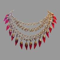 1920's ART DECO Regal Red GLASS Drops Cascade Bib Necklace